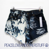 Reworked LEE High Waisted Bleach Splash