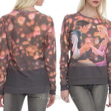 Licensed cool Disney Tangled Princess Rapunzel Prince Flynn Pullover Long Sleeve Sweatshirt 2X