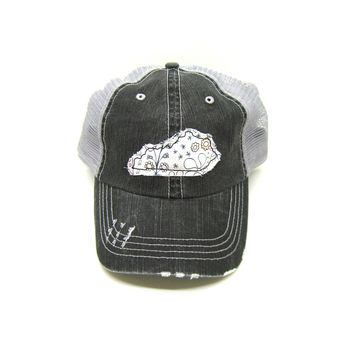 0a9886d4 Gracie Designs $24.00. Kentucky Trucker Hat - Distressed - Floral Fabric  State Cutout
