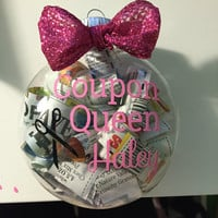 Custom Coupon Queen/King Christmas Ornament - Filled with coupons!