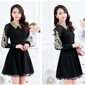 Autumn Women Dresses Gold Embroidery Long Sleeve A Style Dress Black Plus Size L- 4XL = 1958620804