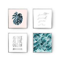 SET of 4 Prints, As Free As The Ocean, Coastal Print, Ocean Decor, Monstera Art, Gold Foil Print, Beach Decor, Wave Print, Ocean Poster Set