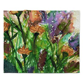 "Ebi Emporium ""Floral Insurgence 6 "" Pink Purple Fleece Throw Blanket"