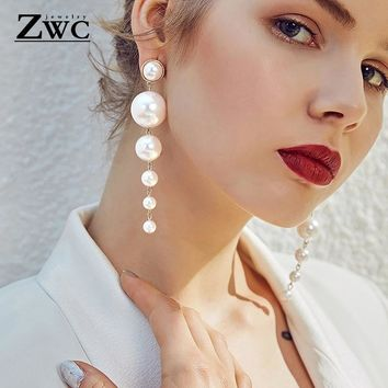 ZWC Trendy Elegant Created Big Simulated Pearl Long Earrings Pearls String Statement Drop Earrings For Wedding Party Gift