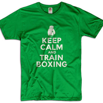 Keep Calm And Train Boxing Men Women Ladies Funny Joke Geek Clothes T shirt Tee Gift Present