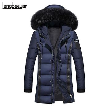 New Fashion Brand Men Down Jacket Men Winter Keep Warm Jacket Mens Winter Parka With Fur Hood Long Mens Jackets And Coats