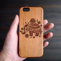 Elephant Cherry Wood One Piece iPhone 6 6s Case , Personalized Cherry Wood One Piece iPhone 6 6s Case , Monogrammed iPhone 6 6s Wood Case