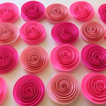 "Shades of Pink baby shower decorations, set of 24, 1.5"" paper flowers, small roses, girl birthday party, Princess Tea Party, Bedroom decor, bridal shower table idea"