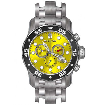 Invicta 80055 Men's Pro Diver Black Bezel Yellow Dial Stainless Steel Dive Watch