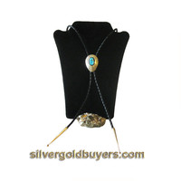 Sterling Silver Bolo Necktie with Blue Turquoise Cabochon