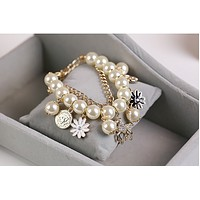 Korean fashion trend bracelet pony horse petals head mix pearl multi-storey Korean bracelet jewelry