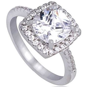 Stunning 5.20 ct White Sapphire Cushion Cut Ring