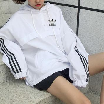 """""""Adidas"""" Women's Leisure  Fashion Letter Printing Long Sleeve  Couple Hooded Coat Tops"""