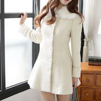 Beige Fur Collar Coat