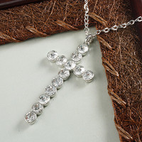 Clear Radiant Rhinestone Cross Necklace Silver