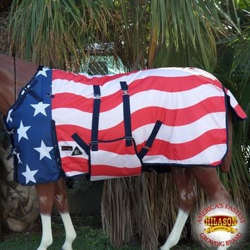 "72"" HILASON 1200D WINTER WATERPROOF HORSE BLANKET BELLY WRAP PATRIOTIC US FLAG"