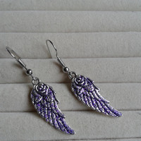 purple glitter  colored   Angel wings dangle earrings