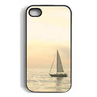 Yellow and White Sailboat iPhone case, nature, ocean, sea, sailing, cover, iphone 4, iPhone 4s, iphone4 case, water