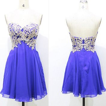 Chiffon Royal Blue Sweetheart Homecoming Dress