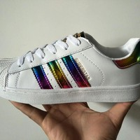 Adidas Superstar Fashion Casual Unisex Rainbow Stripe Shell Head Plate Shoes Couple Sneakers Small White Shoes