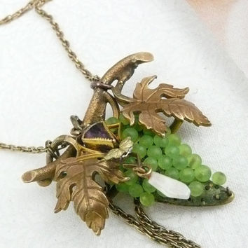 Romantic Victorian Grape Amethyst Necklace Pearl by WillowBloom