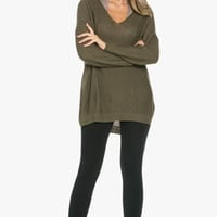 Seeking Adventure Oversized Knit Sweater in Olive