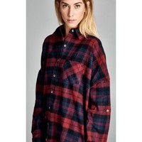 Weekend Plaid Boyfriend Flannel - Red