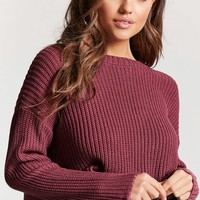 Cropped Purl Knit Sweater