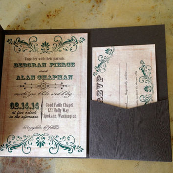 Woodgrain texture card stock pocketfold wedding invitation suite.