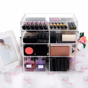 Cube 4 Tier Makeup Organizer Storage Box Acrylic Make Up Organizer Cosmetic Organizer Makeup Storage Drawer