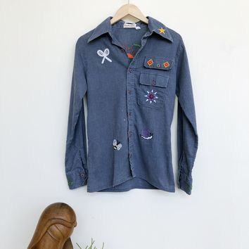 Vintage 1970's Embroidered Chambray Shirt