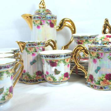 Lusterware Tea Set Cups and Saucers Milk Jug and Sugar Jug for 6 Pink and Gold J Furmani Paris Milano