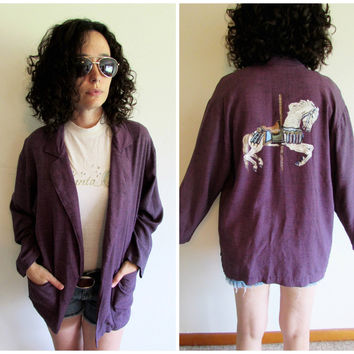 Vintage 80s 90s Plum Purple Oversize Jacket Blazer with Handpainted Carousel Horse on Back