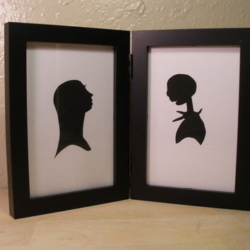 The Nightmare Before Christmas   Jack and Sally  4x6 sweetheart Framed Sets  Hand cut black silhouette papercut