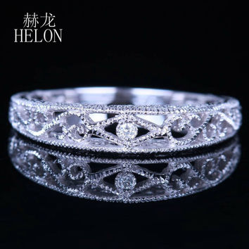 HELON Solid 14k White Gold SI/H 0.004ct Diamonds Vintage Band Filigree Art Nouveau Antique Wedding & Anniversary Jewelry Ring