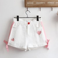 Japanese Summer Heart Button Shorts SD01681
