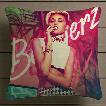Bangerz Miley Cyrus Square Pillow Case Custom Zippered Pillow Case one side and two side