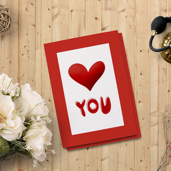 "Valentine's Day Card, Love You Card, Red Heart You Printable Card 5""x7"" Instant Download - Heart Digital Print - on SALE 50%"