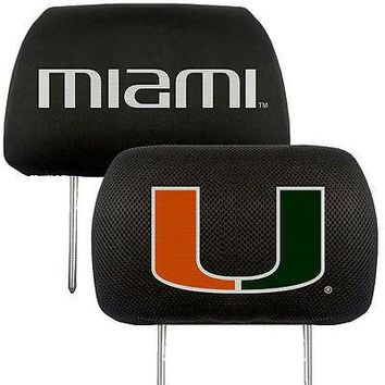 Miami Hurricanes 2-Pack Auto Car Truck Embroidered Headrest Covers