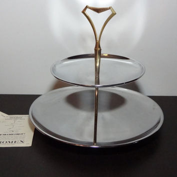 Vintage Kromex Tidbit Tray - Round Two Tier Serving Tray - Chrome with Brass Tone Handle - Mid Century Modern - New Old Stock - Never Used