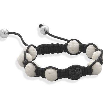 Adjustable Macrame Bracelet with Carved Bone and Crystal Beads