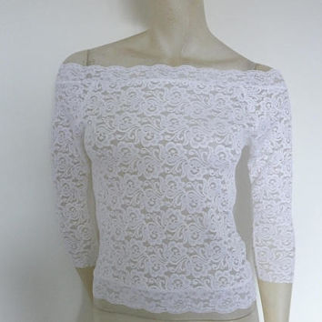 White Lace Shirt Top Sleeves 7/8 and lower Back  Sheer Tango Ballet Top Size US 4/6 Eu 34/36  Tango Chamise Evening Top