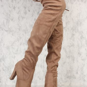 Taupe Round Pointy Toe Single Sole High Heel Thigh High Boots Faux Suede