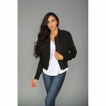 Rouched Bomber Jacket in Black