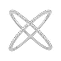 Cubic Zirconia Sterling Silver X Ring (White)