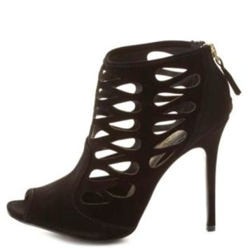 Cut-Out Caged Peep Toe Booties by Charlotte Russe