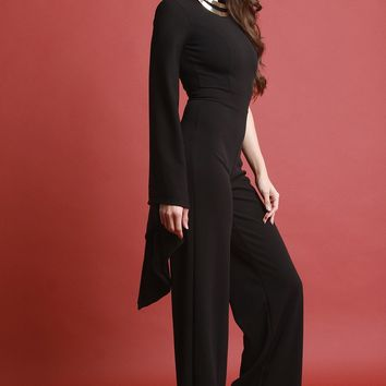 Asymmetrical One Bell Sleeve Jumpsuit