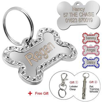 Personalized Dog Tags Custom Engraved Pet ID Tag Stainless Steel Bling Bone Shape With Free Gift