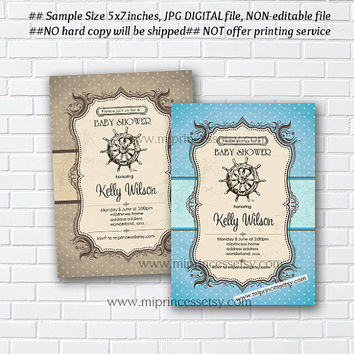 Vintage Anchor Baby Shower Invitation Nautical Baby birthday invite Boy Shower two color to choose from Invitation Card Design - card 62