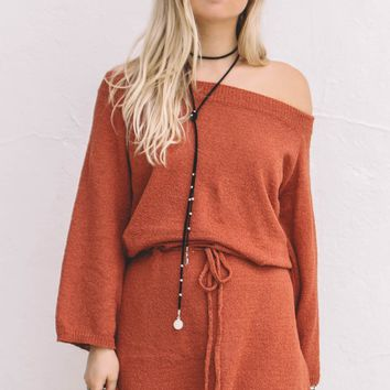 Bitter Sweet Brick Cool Knit Off The Shoulder Dress